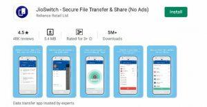 Jio Switch secure file transfer app